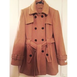 Calvin Klein Pea coat- camel color